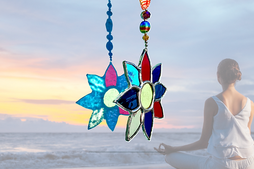 stained glass yoga flowers handmade