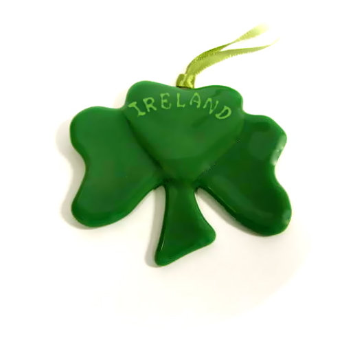 Kiln Fused Glass Irish Shamrock