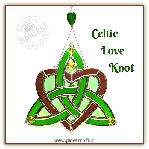 Handmade Stained glass Celtic love knot with spirals wedding gift