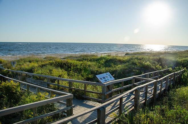Beach boardwalk at Oak Island NC. Leadin
