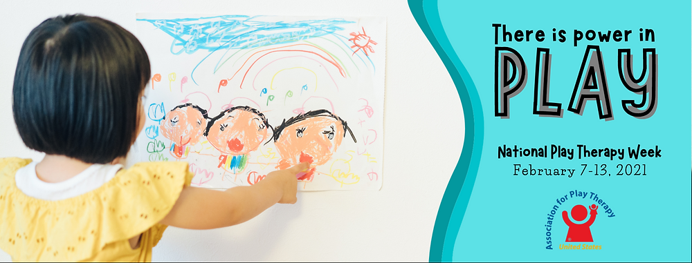 National association for play therapy, play therapy week 2021 picture. Child with black hair in a bob wearing a yellow top and poining at a child like drawing of three people.