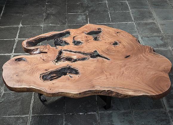 欅(ケヤキ)の一枚板テーブル+ガラス(CURRENT Table)
