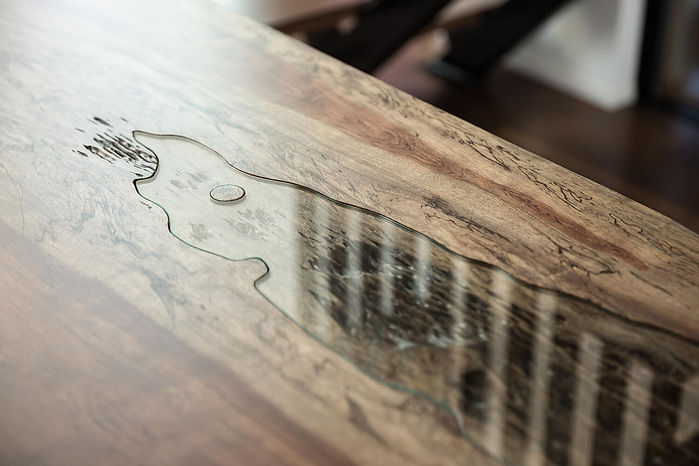 一枚板+ガラス テーブル