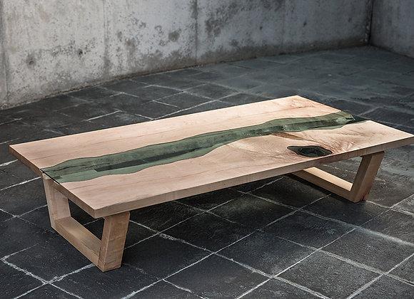 ハードメープルの一枚板テーブル+ガラス(CURRENT Table)