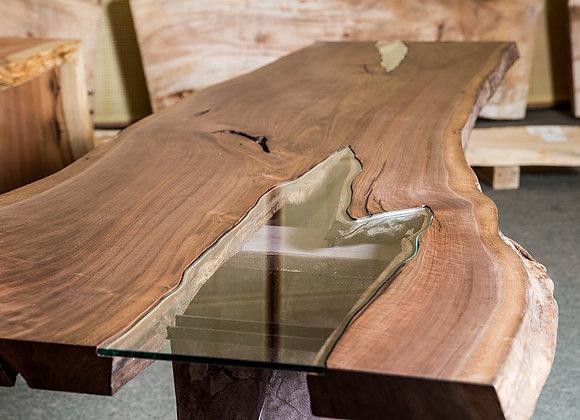 ウォールナットの一枚板+ガラス テーブル(水鏡):【送料無料】