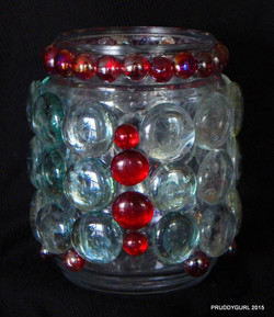 Clear and Red Vase