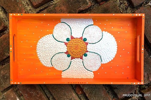 "Orange & White Flower Wooden Tray (14 1/4"" x 7 1/4"")"