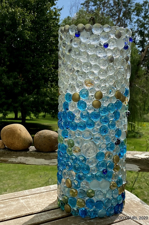 """Blue, multi-colour vase (15"""" x 5.5"""")"""
