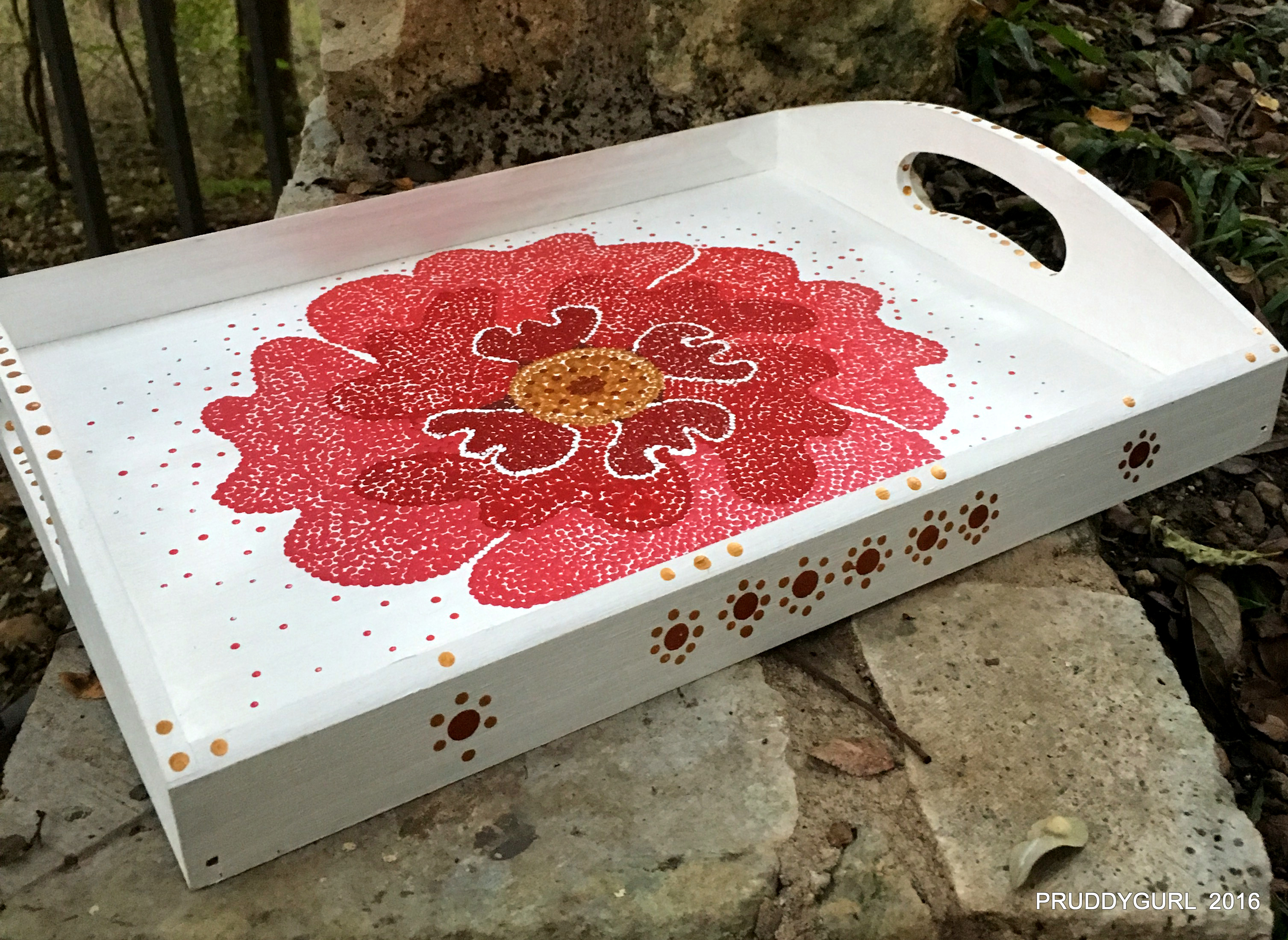 Red Poppy Tray - Side