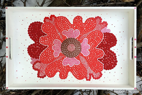 "Wooden Red/White Flower Tray (16"" x 10"")"