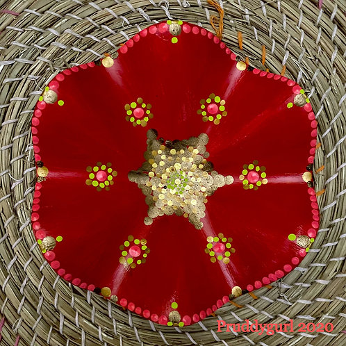 Red Metal Scallop Shaped Trinket Tray (6 in)