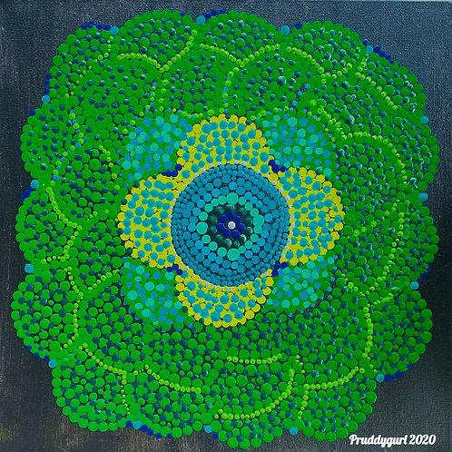 "Lime Green Zinnia (12"" x 12"")"
