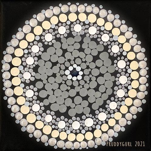 "Black Moonstone Moon (5"" x 5"")"