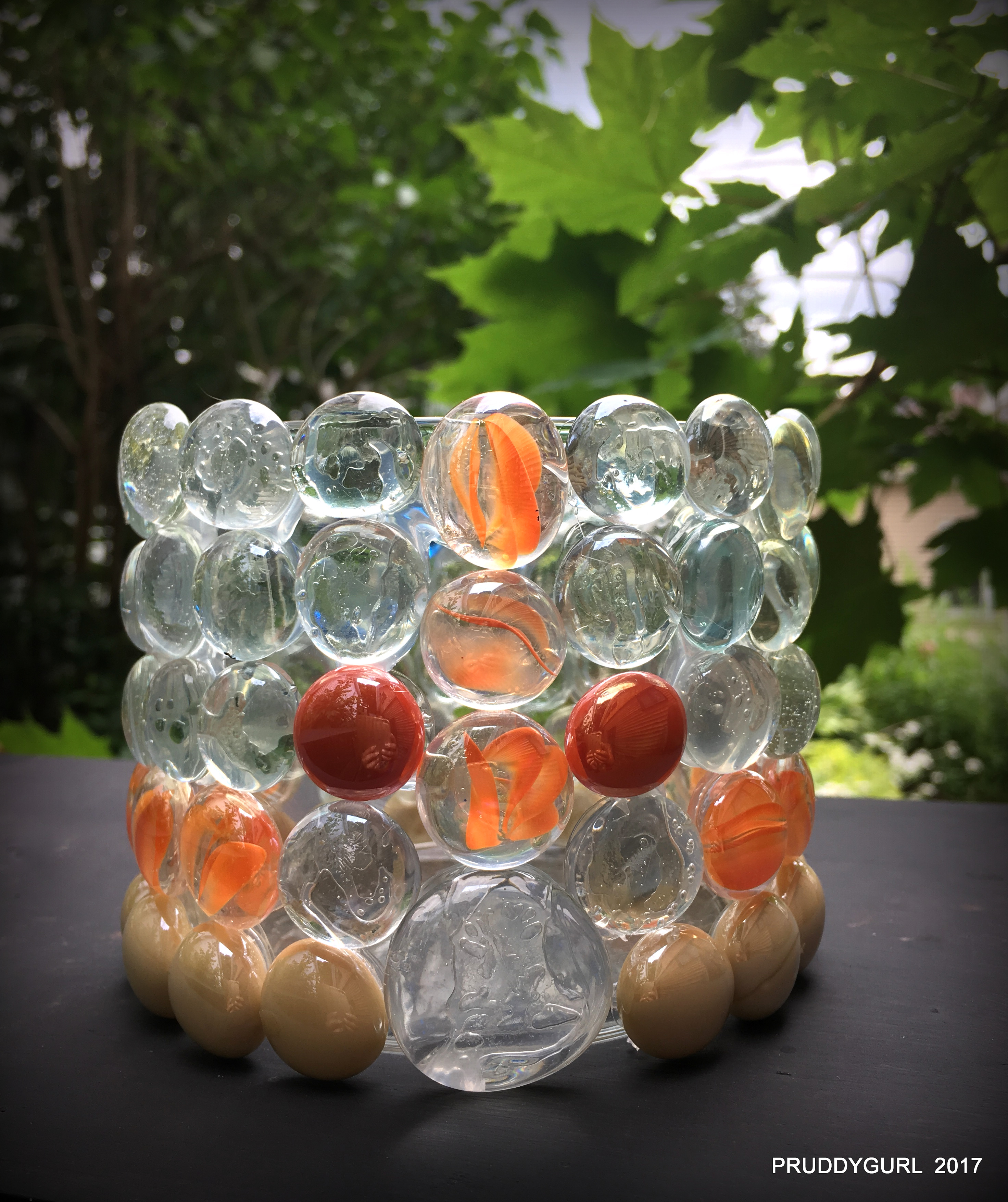 Orange clear vase WM