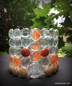 Orange clear vase WM