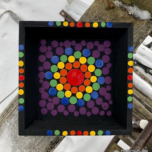 "Black/Rainbow Trinket Tray (5.5""x 5.5"")"