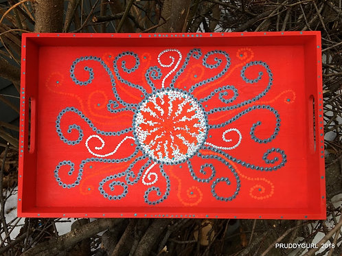 "Wooden Red/Silver Tray (15""x 9"")"
