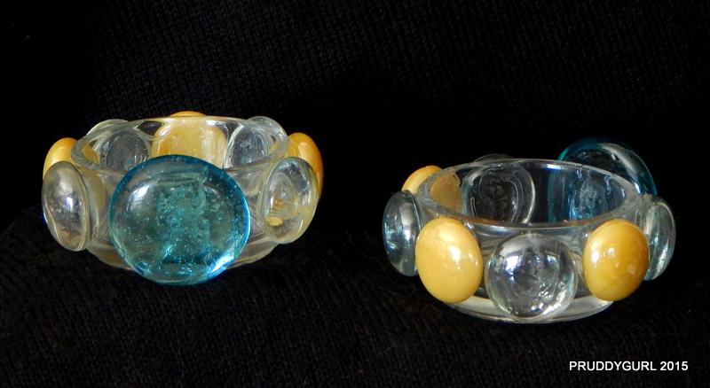 Clear, Blue & Yellow Tealight Holder