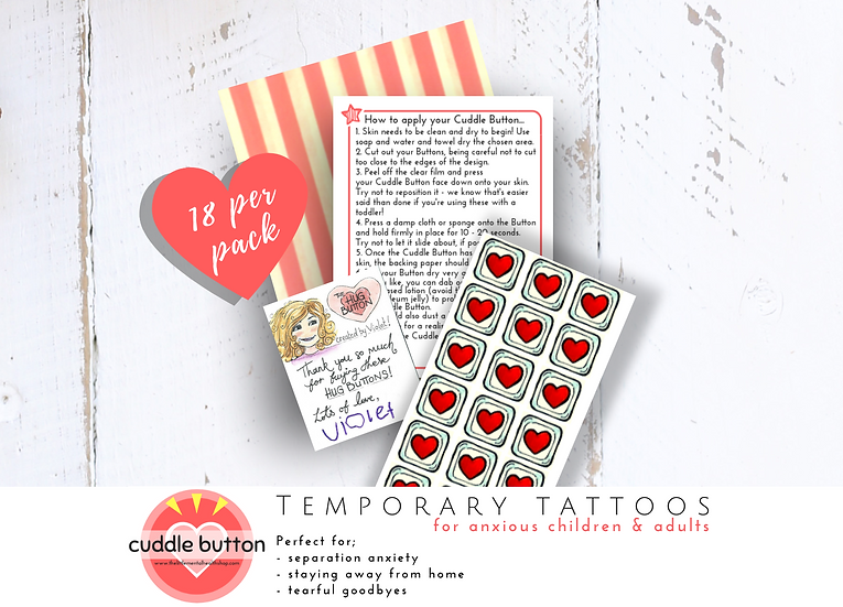 Anxiety Relief Temporary Tattoos for Kids - The Cuddle Button - Pack of 18 Red H
