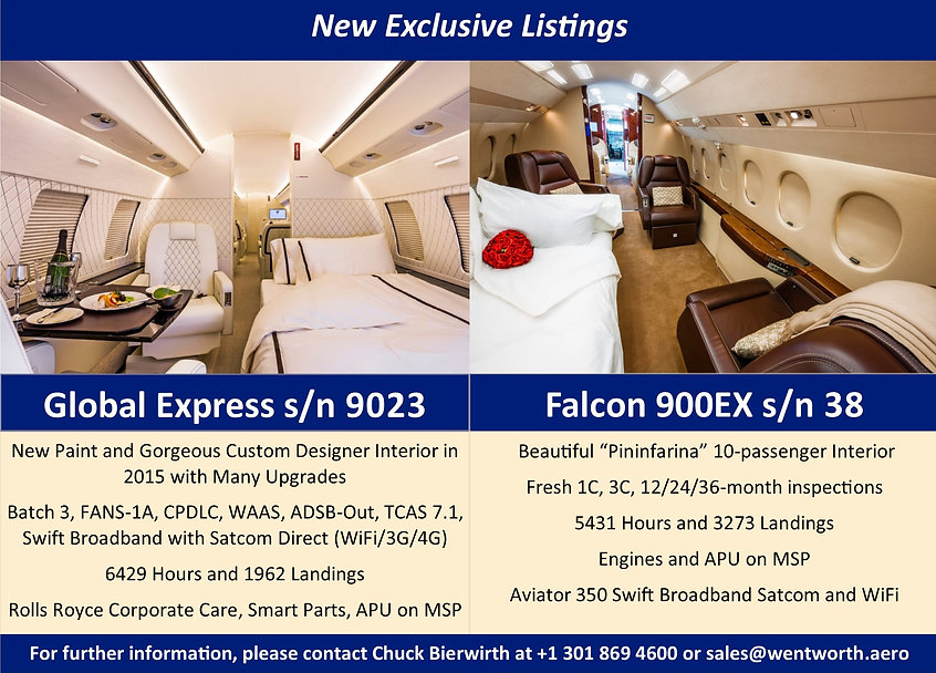 New to Market Global Express and Falcon 900EX
