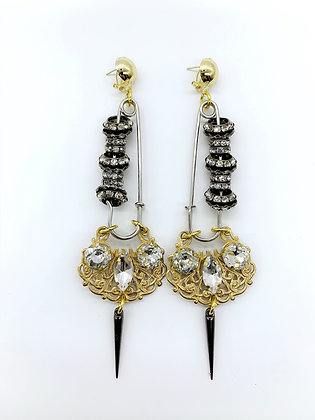 Baroque Safety Pin Earrings