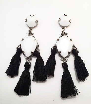 Silver Black and White Tassel Earrings