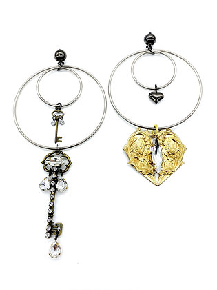Heart and Key Mixed Earrings
