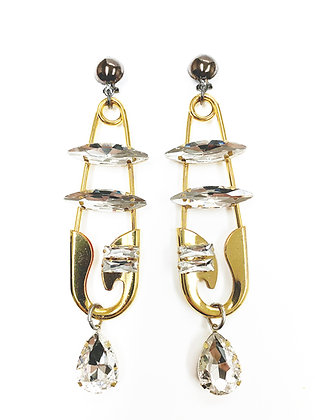 Large Gold Safety Pin Earrings
