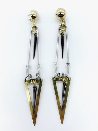 Safety Pin Triangle Earrings