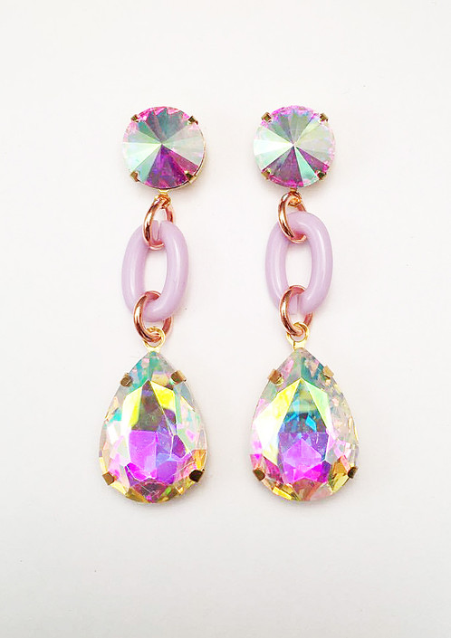 Iridescent Lilac Lucite Earrings
