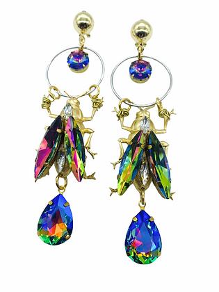 Rainbow Iridescent Bug Earrings