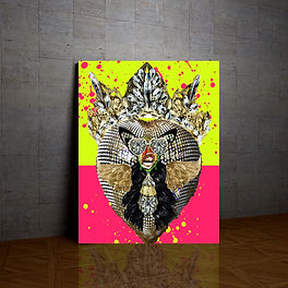 Vauje home decor wall art jewelry glitter  colorful neon yellow girly art  gold  crown  li