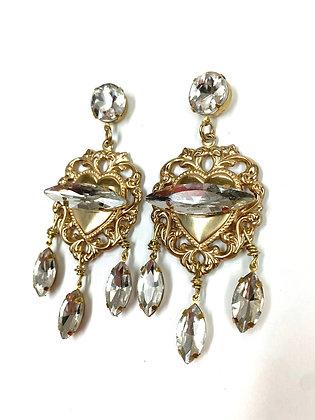 Clear Rhinestone Heart Earrings