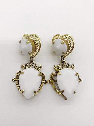 White Heart Earrings