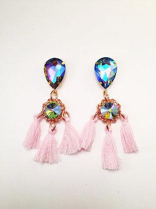 Rainbow Iridescent Pink Tassel Earrings