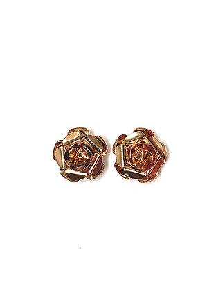 Metal Rose Stud Earrings