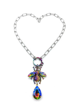 Rainbow Iridescent Bee Layer Necklace
