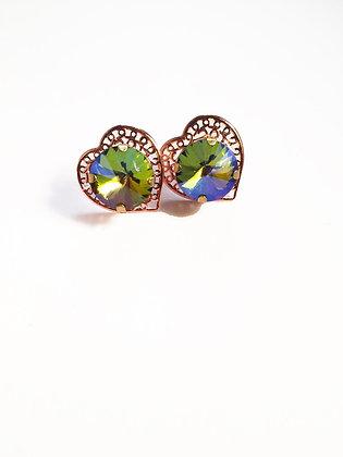 Rainbow Iridescent Rose Gold  Heart Studs