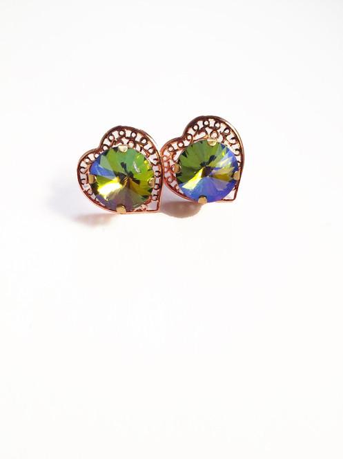 d37357b2f Rainbow Iridescent Rose Gold Heart Studs