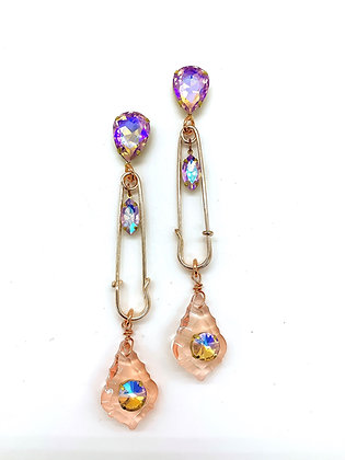 Rose Gold Pink Glass Earrings