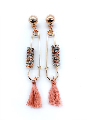 Rose Gold Blush Safety Pin Earrings