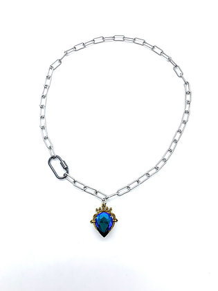 Blue Crowned Layer Necklace