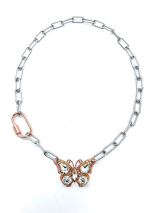 Rose Gold Butterfly Layer Necklace