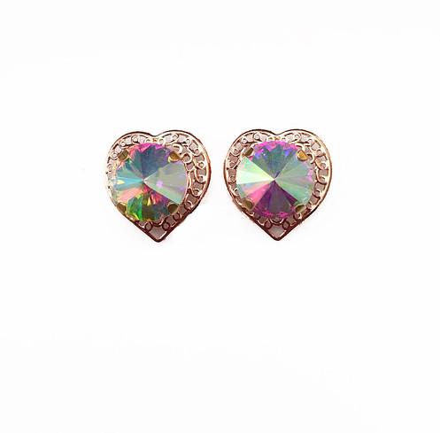 910b11b1b Iridescent Rose Gold Heart Studs