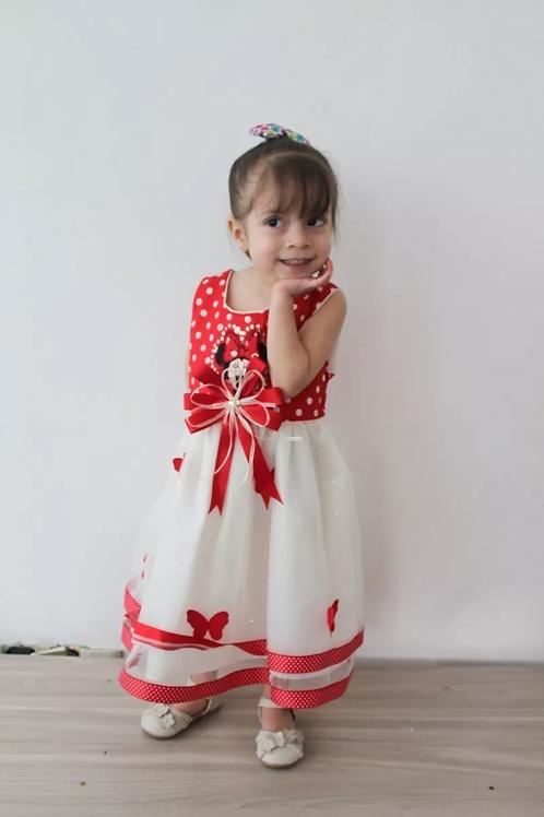 Vestido Mimi Niña Elegante Primavera Verano Minie Rojo