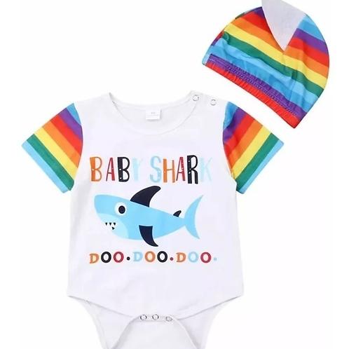 Pañalero Baby Shark Tiburon Para Bebe Con Gorro Babynova