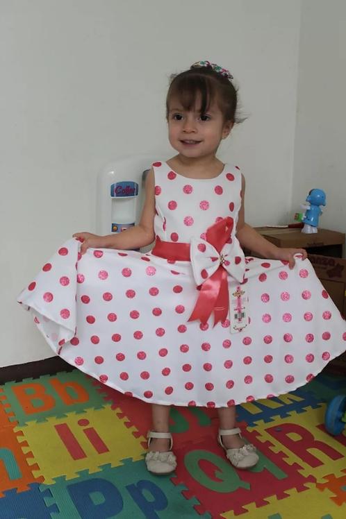 Vestido Elegante Para Fiestas Niña Puntitos Primavera Verano