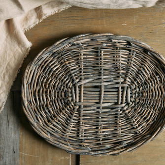 Wicker Tray in Washed Gray