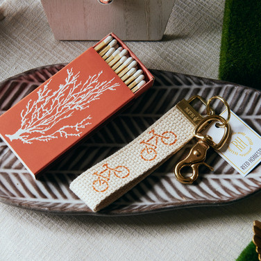 Chic Coral Matchbook, Cyclist Key Fob, Herring Bone Server
