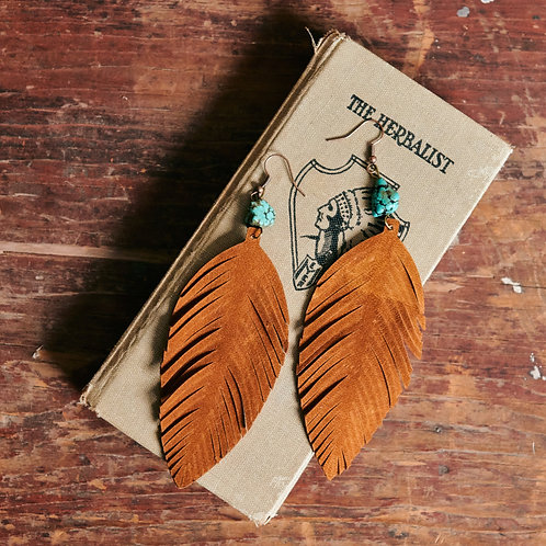 Suede and Turquoise Earrings